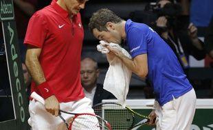 Richard Gasquet et Roger Federer, le 23 novembre 2014 à Lille.