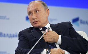 Le président russe Vladimir Poutine, lors d'une réunion du club de discussion Valdai International à Sotchi, le 18 octobre 2018.