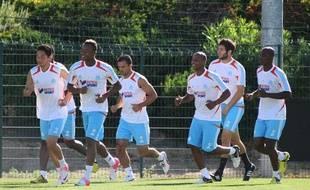 Les joueurs olympiens à l'entraînement, le 17 août 2012 à Marseille.