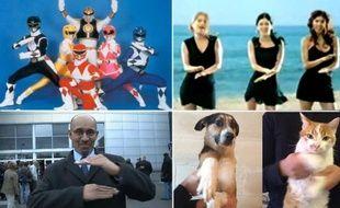 Montage d'images extraites de vidéos parodiant le signe de raillement à François Hollande.