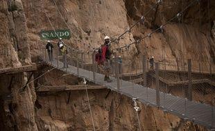 Le Caminito del Rey, chemin de 7,7km de long et un mètre de large le long de la falaise, en Andalousie, le 15 mars 2015.