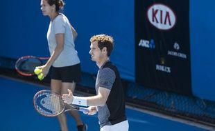 Amélie Mauresmo et Andy Murray à l'entraînement à l'Open d'Australie, le 24 janvier 2016.