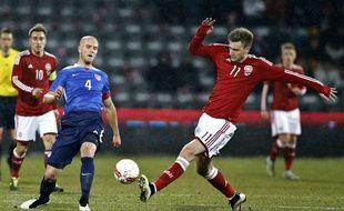 Grâce à un triplé, Nicklas Bendtner a permis au Danemark de l'emporter contre les Etats-Unis (3-2), le 25 mars 2015.