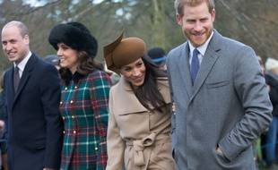 Le prince William, Kate Middleton, Meghan Markle et le Prince Harry le 25 décembre 2017 à Sandrigham.