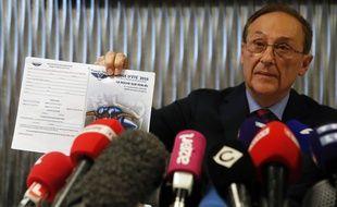 Didier Gailhaguet en conférence de presse au siège de la FFSG, le 5 février 2020.