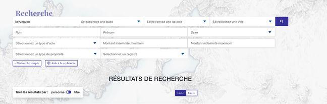 Le moteur de recherche de la base de données Repairs.
