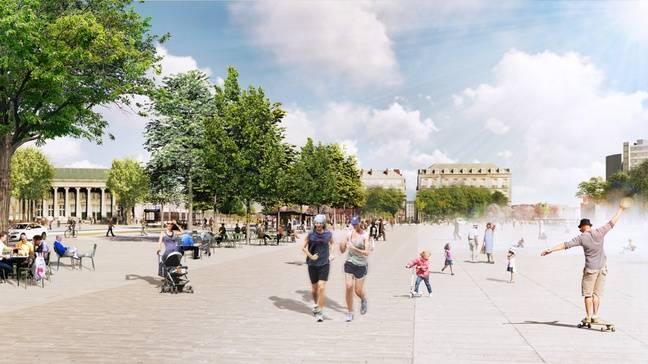 L'esplanade du marché de la future place de la Petite-Hollande.