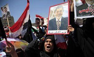 Des partisans du président déchu issu des Frères musulmans, Mohamed Morsi, manifestent le 26 juillet 2013 à Nasr City, en Egypte.
