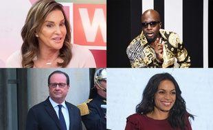 Caitlyn Jenner, Wyclef Jean, François Hollande et Rosario Dawson (montage)