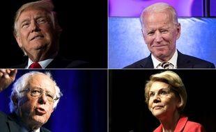 Donald Trump face aux démocrates Joe Biden, Bernie Sanders et Elizabeth Warren (photomontage).
