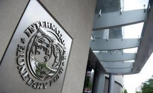 Le logo du FMI à Washington, le 16 mai 2011