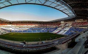 Grand Angle du chantier du Grand Stade de l Olympique Lyonnais, qui comprendra 58 000 places. Credit: Bony/SIPA