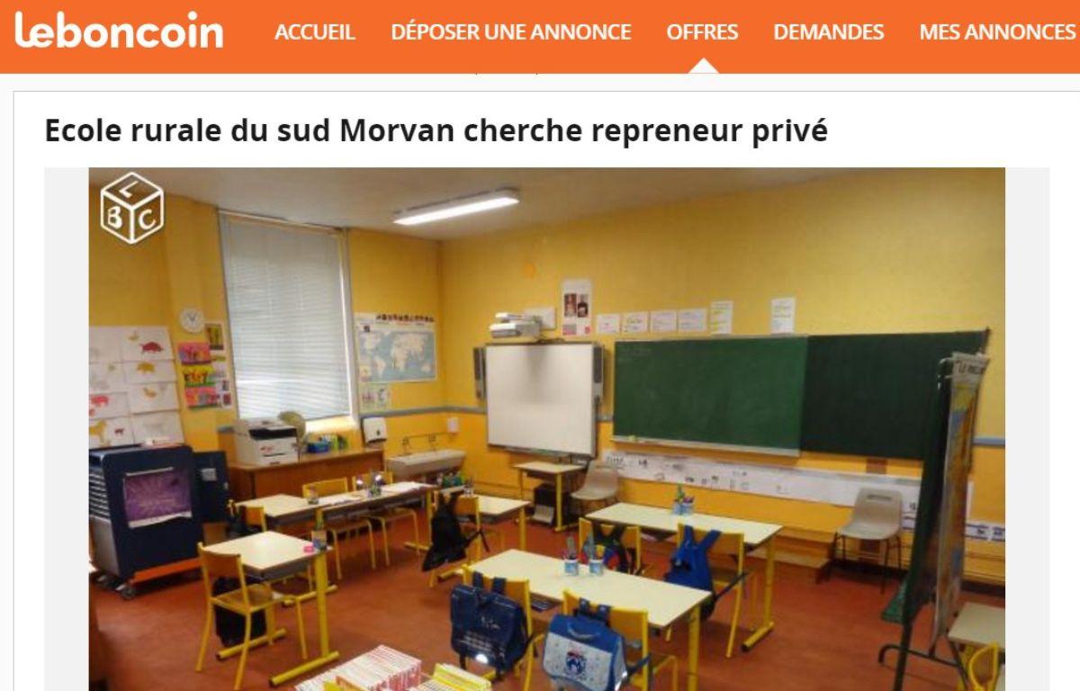 Des parents mettent l'école en vente sur Leboncoin – Capture d'écran