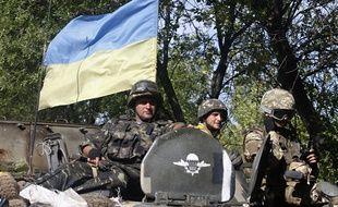 Patrouille de soldats ukrainiens dans la région de Donetsk le 4 septembre 2014.