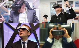Photo montage: François Fillon, Emmanuel Macron, Jean-Luc Mélenchon et Nicolas Dupont-Aignan testant des nouvelles technologies