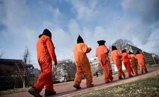 Des activistes protestent contre la prison de Guantanamo, en janvier 2018.