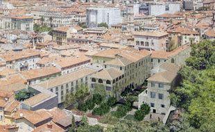 Le projet (en 3D) vu depuis la colline du château
