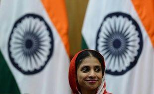 La jeune Indienne Geeta lors d'une conférence de presse à New Delhi, le 26 octobre 2015