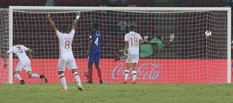 L'équipe de France des moins de 17 ans a été éliminée en 8e de finale du Mondial par l'Espagne, le 17 octobre 2017 en Inde.