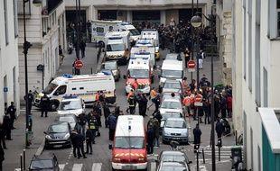 La rue Nicolas-Appert, quelques minutes après l'attaque de Charlie Hebdo le 7 janvier 2015.