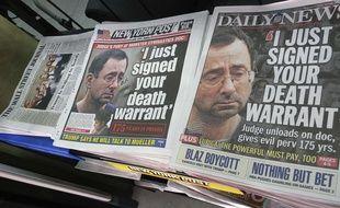 Les Unes des journaux américains au lendemain de la condamnation de Larry Nassar, l'ancien médecin de l'équipe de gymnastique des Etats-Unis, à une peine de 175 années d'emprisonnement.