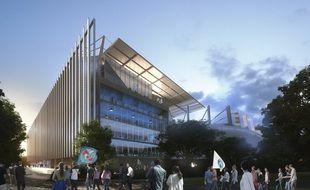 Le futur stade de la Meinau avec sa tribune Sud complètement refaite.