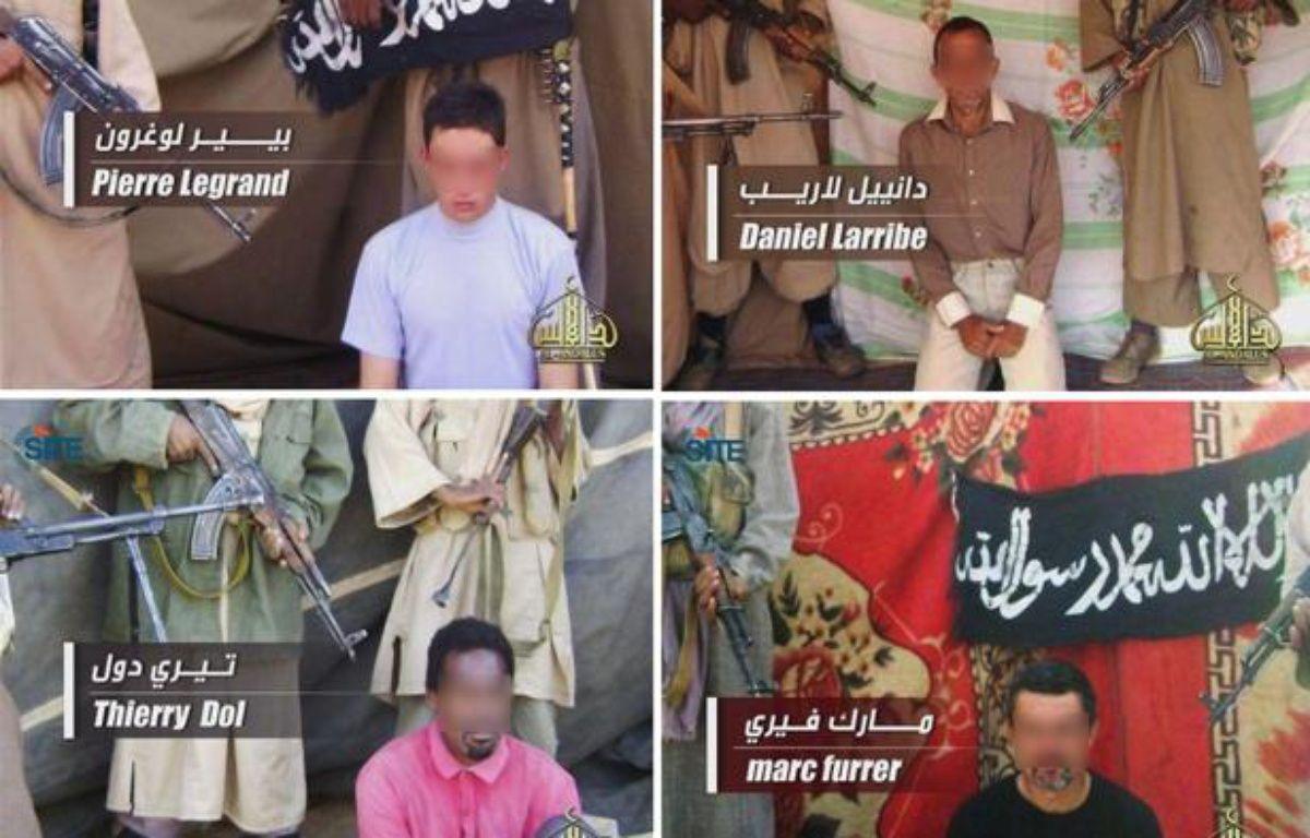 Photo des quatre otages français toujours retenus en otage par Al-Qaida au Maghreb islamique (Aqmi) au Sahel, diffusée le 27 avril 2011. – AL-ANDALUS / AFP
