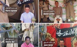 Photo des quatre otages français toujours retenus en otage par Al-Qaida au Maghreb islamique (Aqmi) au Sahel, diffusée le 27 avril 2011.