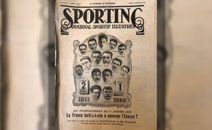 La une de «Sporting - Journal sportif illustré» du 30 décembre 1919 qui présente le match France - Ecosse joué deux jours plus tard.