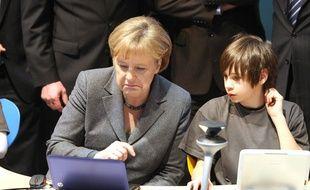 Angela Merkel au salon CeBIT à Hanovre, le 2 mars 2010.