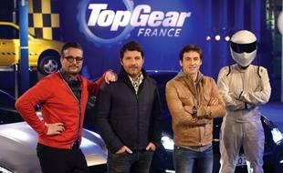Le Tone, Philippe Lellouche, Bruce Jouanny et le Stig, 'équipe française de «Top Gear».