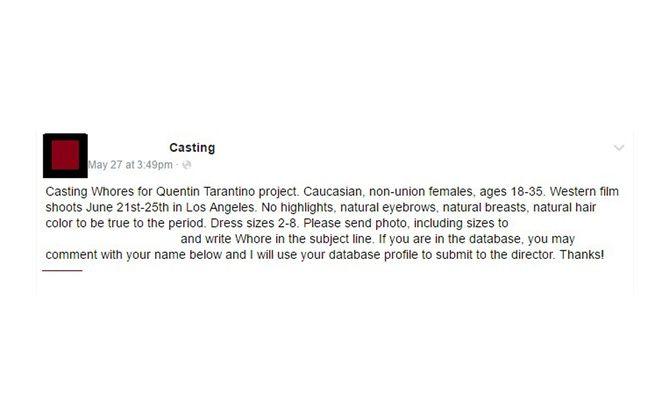 L'offre de casting controversée a été dépubliée.