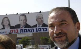 Avigdor Lieberman, leader of hardline right-wing party Yisrael Beitenu, walks down the street during a tour of the southern Israeli town of Beer Sheva February 7, 2009. REUTERS/Amir Cohen (ISRAEL)
