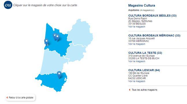 La carte des magasins en Aquitaine