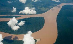 Vue aérienne du fleuve Amazone au Brésil le 12 décembre 2013