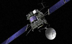 - Image de synthèse représentant la sonde de la mission Rosetta. Cette mission de l'Agence spatiale européenne (ESA) consiste à analyser la comète Chyryumov Gerasimenko grâce à son module d'atterrissage.