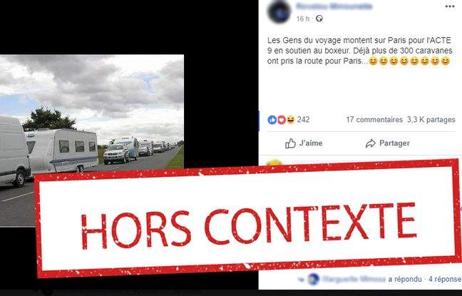 «Acte 9»: Les photos de caravanes de gens du voyage en route vers Paris sont-elles authentiques?