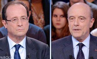 François Hollande et Alain Juppé lors de «Des paroles et des actes» le 26 janvier 2012, sur France 2.