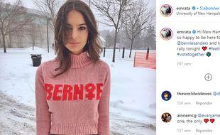 Le mannequin Emily Ratajkowski avait annoncé en janvier soutenir Bernie Sanders.