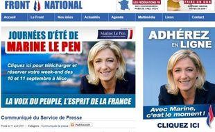 Capture d'écran du site internet officiel de Marine Le Pen.