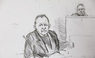 Peter Madsen au tribunal à Copenhague, croqué par Anne Gyrite Schütt.