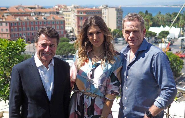 Laury Thilleman et Garou en compagnie du maire de Nice Christian Estrosi