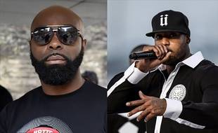 Photomontage montrant les deux rappeurs français Kaaris (G) et Booba (D).