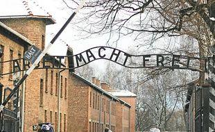 L'entrée d'Auschwitz (à g.), des photos (en h.) et des souliers des déportés.