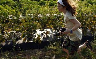 Une enfant américaine court dans un champ du Massachusetts.