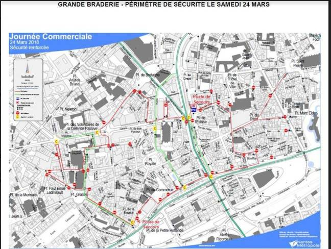 Le périmètre de sécurité de la grande braderie de Nantes samedi 24 mars 2018.