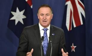 John Key, Premier ministre néo-zélandais, le 19 février 2016 lors d'une conférence de presse à Sydney en Australie