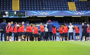 Les Parisiens à l'entraînement à Stamford Bridge le 7 avril 2014.