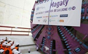 Inauguration du tunnelier Magaly qui doit prolonger la ligne 14 du métro parisien, le 9 septembre 2015