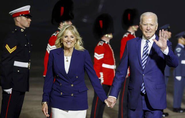 648x415 le president americain joe biden accompagne de sa femme jill biden a son arrivee en grande bretagne